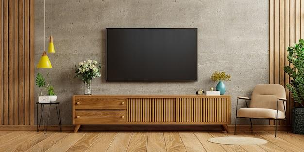 Telewizor na szafce w nowoczesnym salonie betonowa ściana. renderowanie 3d