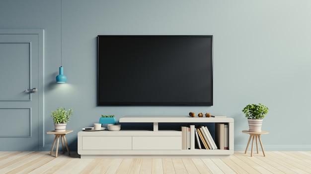 Telewizor na szafce w nowoczesnym salonie mają rośliny i książki na niebieskim tle ściany, 3d ponownie