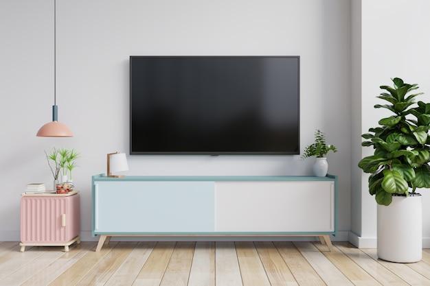 Telewizor na szafce w nowoczesnym salonie na tle białej ściany, renderowania 3d