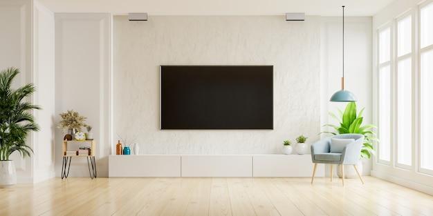 Telewizor na szafce w nowoczesnym salonie z fotelem, lampą, stołem, kwiatem i rośliną na tle ściany gipsowej, renderowanie 3d