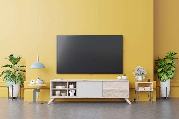 Telewizor na szafce w nowoczesnym salonie z lampą, stołem, kwiatem i rośliną na żółtym tle ściany, renderowanie 3d