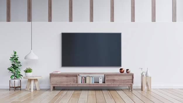 Telewizor na szafce w nowoczesnym salonie.