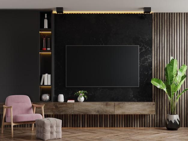 Telewizor na szafce z fotelem i rośliną na ścianie z ciemnego marmuru, renderowanie 3d