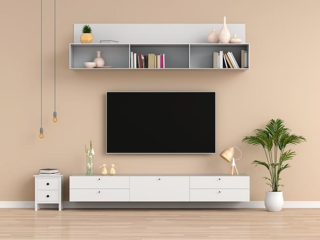 Telewizor panoramiczny i kredens w brązowym salonie