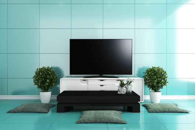 Telewizor w nowoczesnym salonie, kolorowe kafelki w kolorze mięty. renderowania 3d