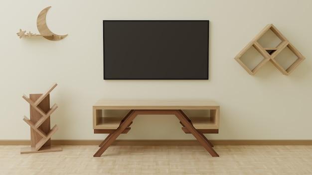 Telewizor w salonie znajduje się na kremowej ścianie, z drewnianym stołem przed nim i zwisającym z boku.