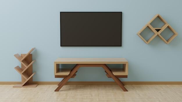 Telewizor w salonie znajduje się na niebieskiej ścianie, z drewnianym stołem przed nim i wiszącymi przedmiotami z boku.