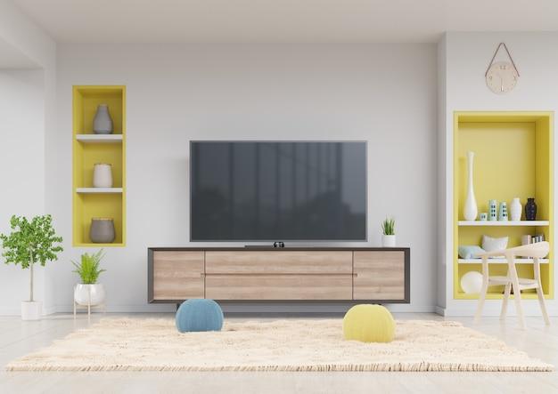 Telewizor w szafce w nowoczesnym salonie z żółtą półką