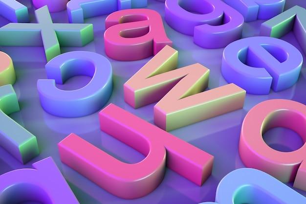 Tematy edukacyjne dla dzieci. wielobarwne litery na stole.