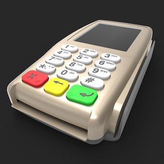Terminal płatniczy kartą. terminal pos na białym tle na czarnym tle. renderowanie 3d.
