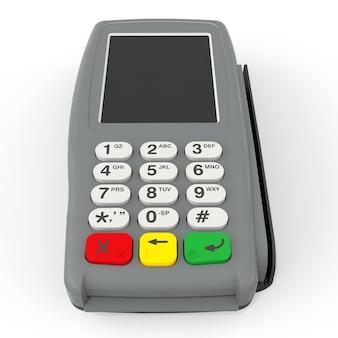 Terminal płatniczy kartą. terminal pos na białym tle. renderowanie 3d.