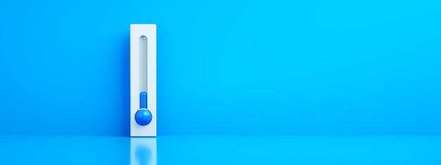 Termometr celsjusza i fahrenheita na niebieskim tle z niską temperaturą, renderowanie 3d, koncepcja mroźnej zimy, układ panoramiczny
