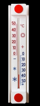 Termometr na czarno na białym tle pokazuje 35 stopni mrozu