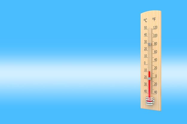 Termometr na niebieskim tle jako pojęcie temperatury otoczenia. renderowanie 3d