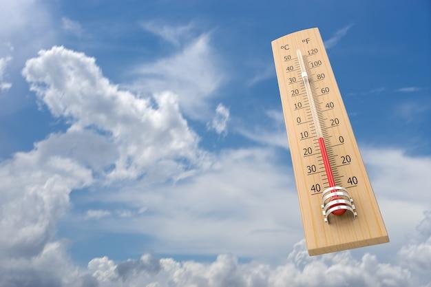 Termometr na tle nieba jako pojęcie temperatury otoczenia. renderowanie 3d