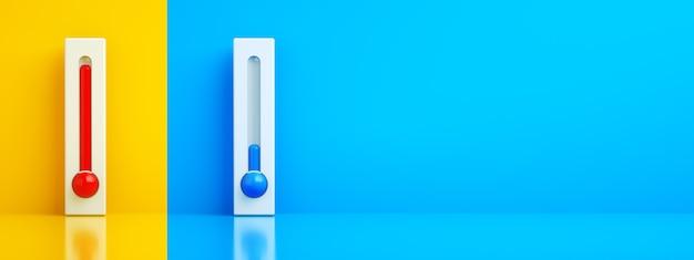 Termometry gorące i zimne, renderowanie 3d, koncepcja sterowania klimatyzatorem, układ panoramiczny