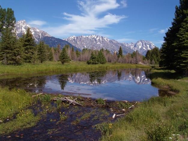 Teton national park schwabacher lądowania wyoming grand