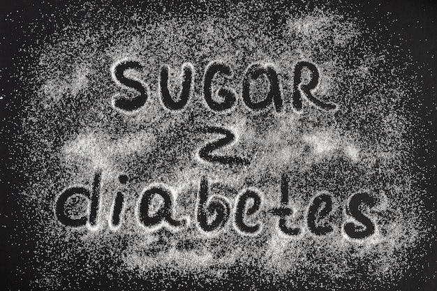 Text sugar - cukrzyca na rozproszeniu kryształów cukru, blac