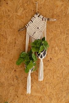 Tkana dekoracja do wieszania roślin na ścianie