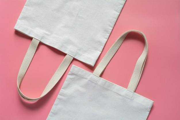 Tkanina płócienna z białej torby. worek na zakupy