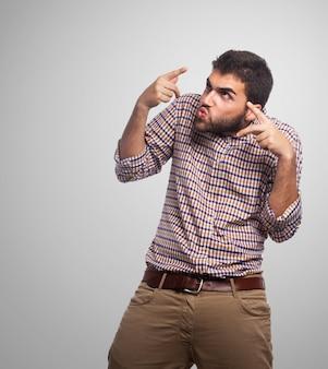 Tła niezadowolony twarz dłoń gestu