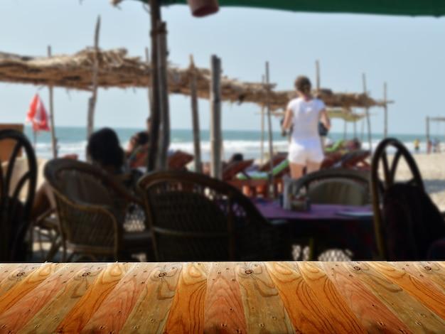 Tła plaży i drewniane fronty