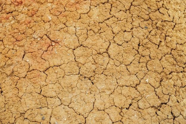 Tle przyrody pękniętych suchych ziem. naturalna tekstura gleby z pęknięciami. złamana gliniasta powierzchnia jałowych suchych pustkowi z bliska. pełna klatka na teren o suchym klimacie. martwa pustynia na ziemi