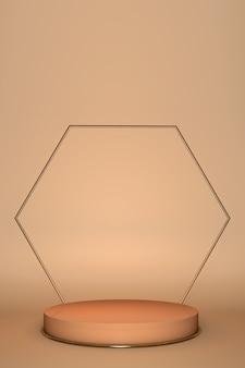 Tło 3d, cokół podium na tle pastelowego beżu naturalnego cienia. promocja produktów kosmetycznych, ekspozycja kosmetyków. nude studio