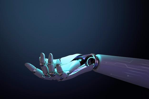 Tło 3d dłoni robota, przedstawiający gest technologii