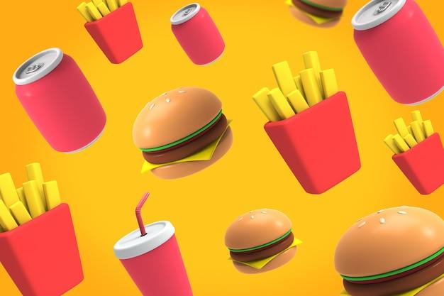 Tło 3d fast food-01