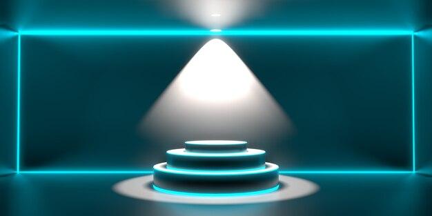 Tło 3d odpłaca się pusty podium. tło nowoczesnej technologii przyszłości. futurystyczne wnętrze sci-fi hi tech concept.