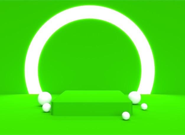 Tło 3d podium backgraund pastelowe miękkie zielone realistyczne renderowanie platforma studio light stand