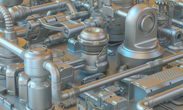 Tło 3d render abstrakcyjnego sci-fi teksturowanego metalu z kablami, rurkami i częściami elektronicznymi.