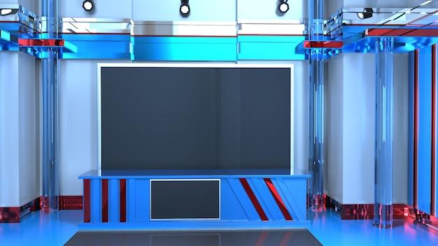 Tło 3d virtual news studio, ilustracja 3d