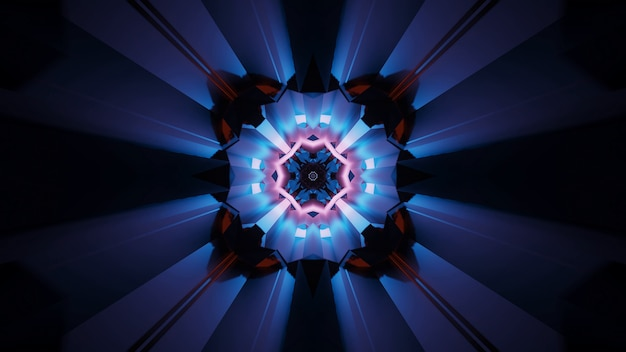 Tło abstrakcyjnych futurystycznych kalejdoskopowych efektów świetlnych z neonów