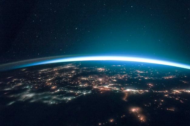 Tło banera cyfrowego świata, zremiksowane z domeny publicznej przez nasa