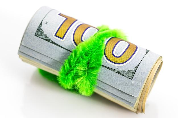Tło banknotów dolarowych, pieniądze z dolarów usa