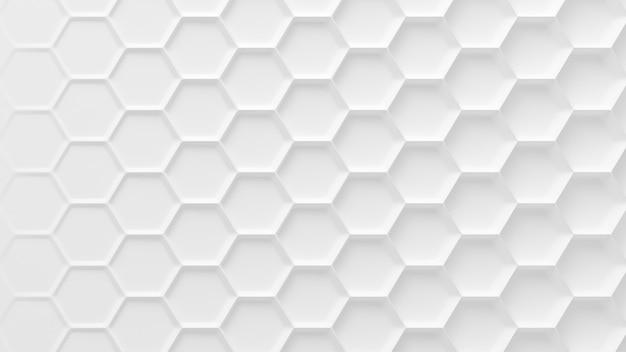 Tło białe geometryczne sześciokąt o strukturze plastra miodu. renderowanie 3d.