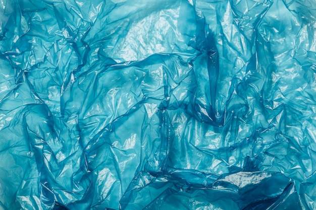 Tło, błękitny plastikowej torby zbliżenie