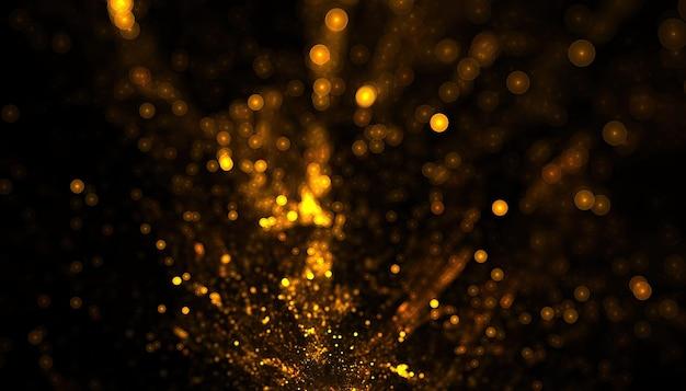 Tło bokeh eksplozji cząstek złotego brokatu