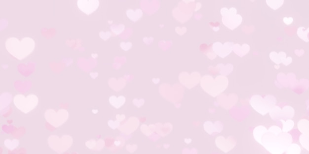 Tło bokeh różowe serce. koncepcja valentine
