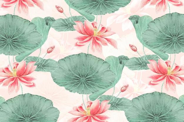 Tło botaniczne z motywem lotosu, remiks z dzieł megaty morikaga