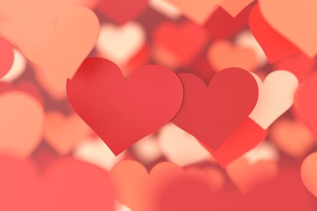 Tło czerwone serce. tło valentine. renderowanie 3d.
