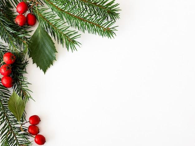 Tło dla kart świątecznych i noworocznych z gałęzi świerków i czerwonych jagód