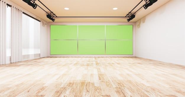 Tło dla programów telewizyjnych tv na ścianie, pokój pusty studio wiadomości i tło zielony ekran telewizora