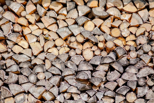 Tło drewna opałowego, drewno opałowe ścienne, tło suchego posiekanego drewna opałowego w stosie.