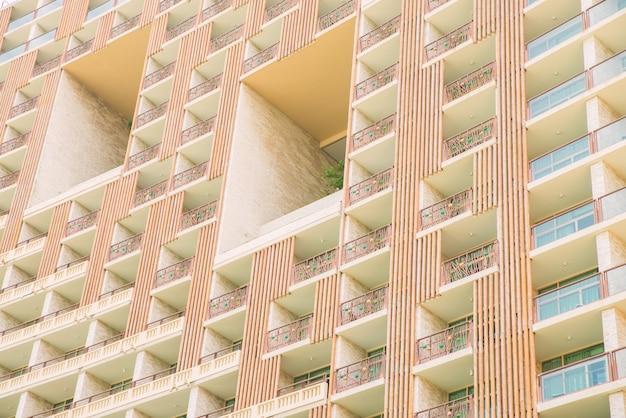 Tło fasady budynku mieszkalnego, tarasy hotelowe