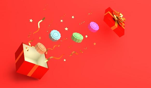 Tło festiwalu połowy jesieni z pudełko i ciasto księżyca, renderowania 3d