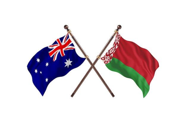 Tło flagi australii kontra białorusi