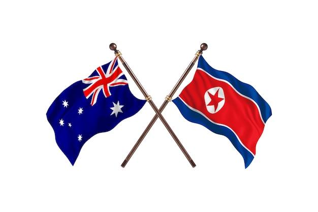 Tło flagi australii kontra korei północnej